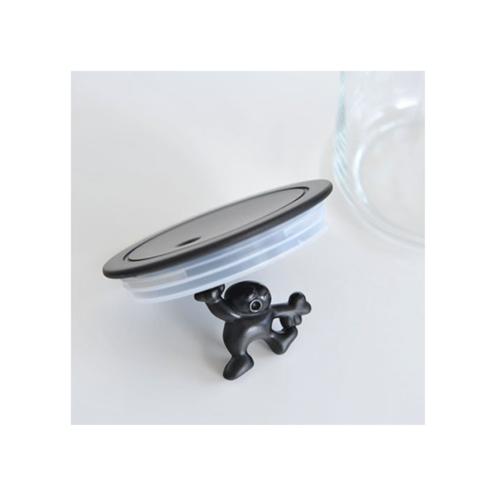 Alessi Gianni glazen voorraadpot 15 cm Zwart
