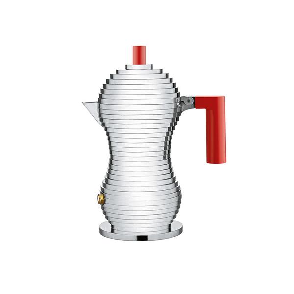 Alessi Pulcina Percolator 1 kops Aluminium Rood
