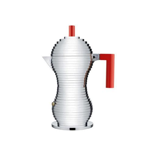 Alessi Pulcina Percolator 3 kops Aluminium Rood