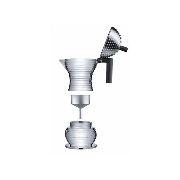 Alessi Pulcina Percolator 3 kops Aluminium Zwart