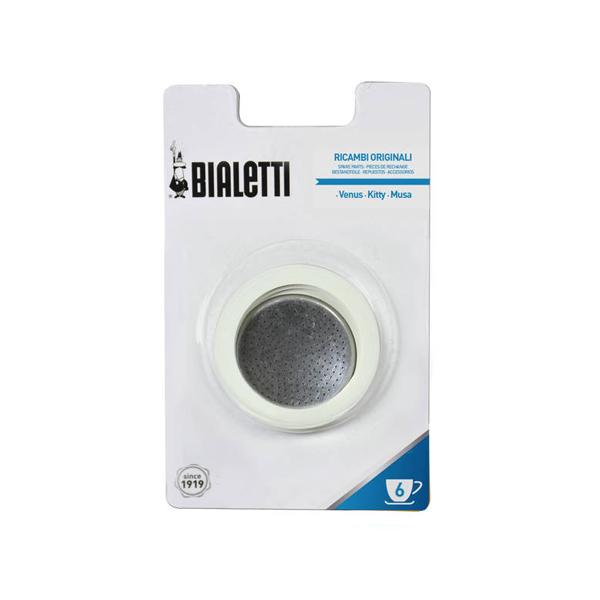 Bialetti RVS Filterplaatje en Afsluitringen (6 Kops)