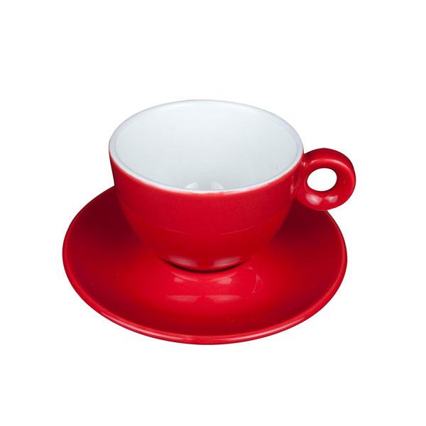Cappuccino Kop en Schotel Porselein Rood