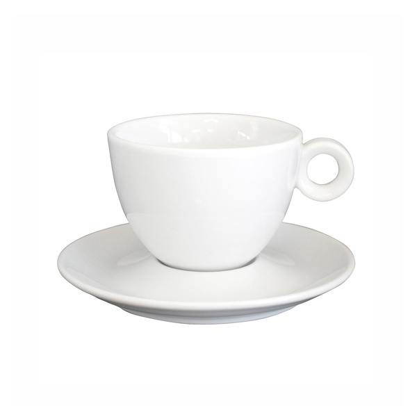 Cappuccino Kop en Schotel Porselein Wit