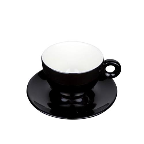 Cappuccino Kop en Schotel Porselein Zwart