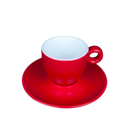 Espresso Kop en Schotel Porselein Rood