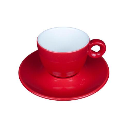 Koffie Kop en Schotel Porselein Rood