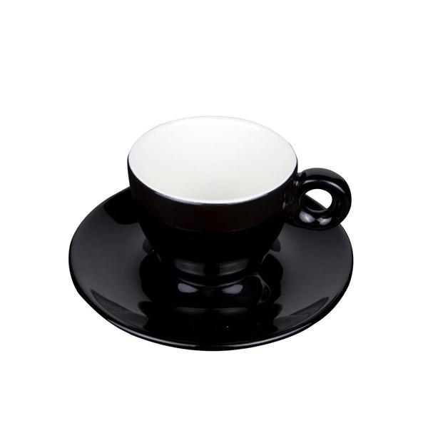 Koffie Kop en Schotel Porselein Zwart
