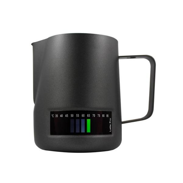 Latte Pro Melkkan Met Thermometer 0,6L Zwart
