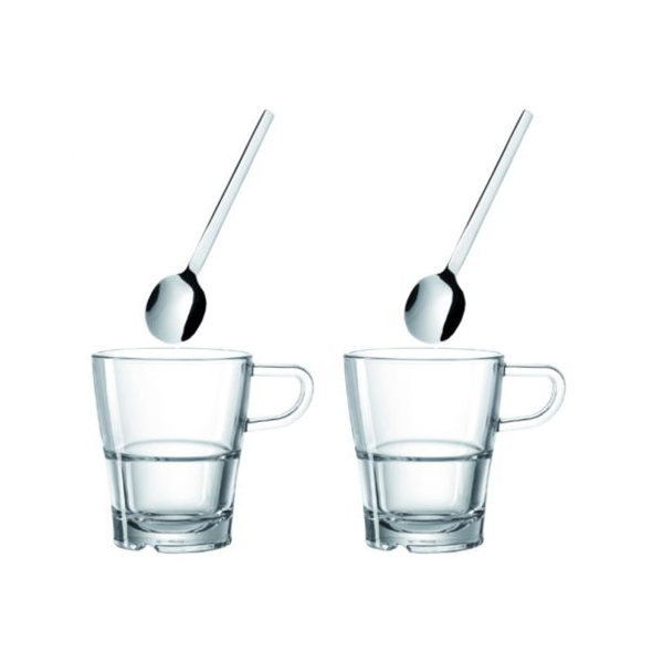 Leonardo Senso koffieglazen met oor en met lepels 4 delig
