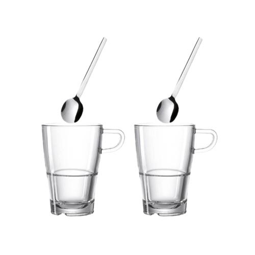 Leonardo Senso Latte Macchiato glazen met oor en lepels 4 delig
