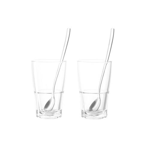 Leonardo Senso Latte Macchiato glazen zonder oor met lepel 4 delig