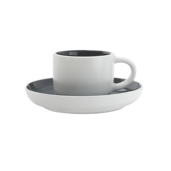 Maxwell & Williams Tint Espresso Kop en Schotel Donkergrijs