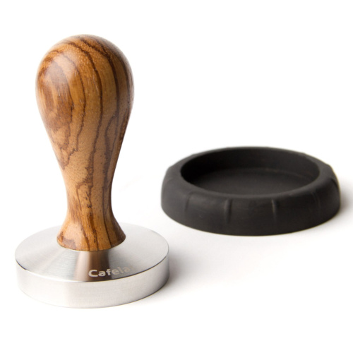 Tamper Cafelat Drop Hout Zebra 58mm
