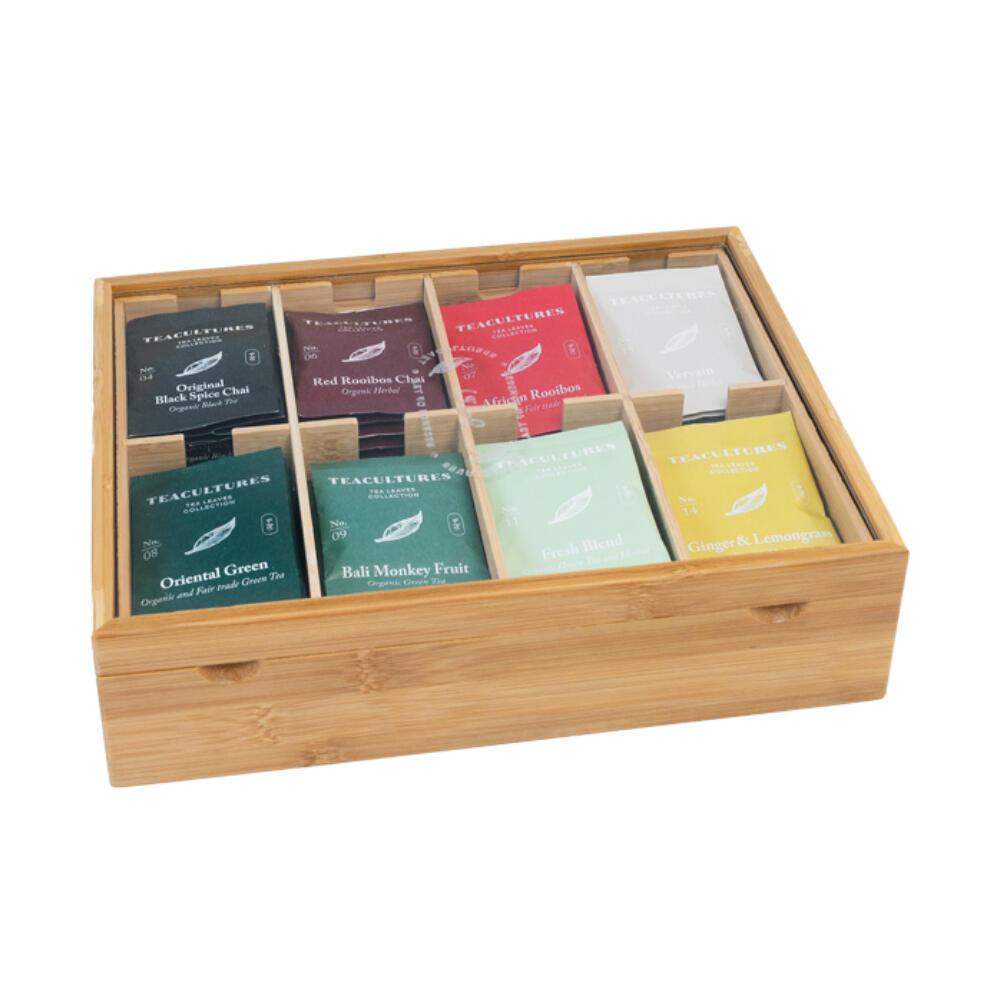 Tea Cultures Theedoos 8 Vaks Met Venster Gevuld